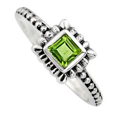 925 sterling silver 0.46cts natural green peridot solitaire ring size 7.5 r6970