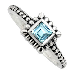 0.45cts natural blue topaz 925 sterling silver solitaire ring size 7.5 r6971