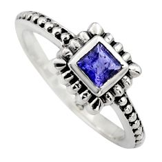 0.45cts natural blue iolite 925 sterling silver solitaire ring size 7.5 r6979