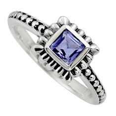 925 sterling silver 0.43cts natural blue iolite solitaire ring size 5.5 r6980