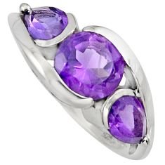 7.04cts natural purple amethyst 925 sterling silver ring jewelry size 7.5 r6981