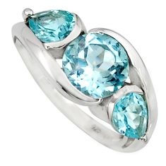 925 sterling silver 7.02cts natural blue topaz ring jewelry size 6.5 r6990