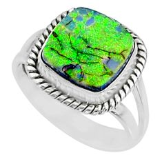 3.62cts multi color sterling opal 925 silver solitaire ring size 7 r70216