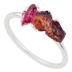 3.82cts natural pink tourmaline raw 925 sterling silver ring size 9 r70707