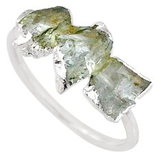5.46cts natural green tourmaline raw 925 sterling silver ring size 8 r70712