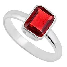 2.02cts natural red garnet 925 sterling silver faceted ring size 6.5 r70871