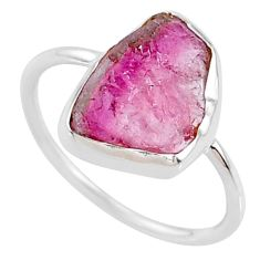 5.70cts natural pink tourmaline raw 925 silver solitaire ring size 8 r70946