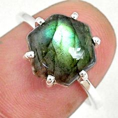 925 silver 4.72cts natural blue labradorite solitaire ring jewelry size 7 r71004