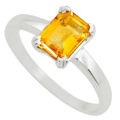 2.11cts natural faceted citrine 925 silver solitaire ring jewelry size 8 r71135