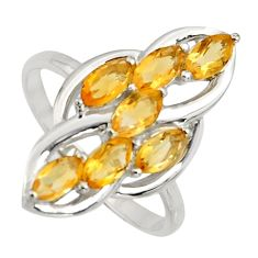 2.78cts natural yellow citrine 925 sterling silver ring jewelry size 7.5 r7428