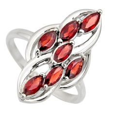 925 sterling silver 2.78cts natural red garnet ring jewelry size 7.5 r7435
