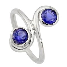 2.08cts natural blue iolite 925 sterling silver ring jewelry size 5.5 r7457