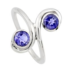 925 sterling silver 2.09cts natural blue iolite ring jewelry size 7.5 r7458