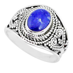 2.92cts natural blue lapis lazuli 925 silver solitaire ring size 7.5 r74684