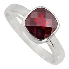 3.29cts natural red garnet 925 sterling silver solitaire ring size 6.5 r7473