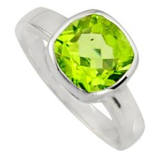 3.05cts natural green peridot 925 sterling silver solitaire ring size 5.5 r7479