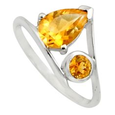 2.96cts natural yellow citrine 925 sterling silver ring jewelry size 7.5 r7484