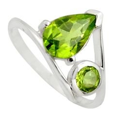 925 sterling silver 2.95cts natural green peridot ring jewelry size 6.5 r7487