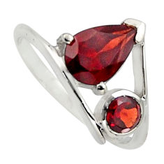 2.96cts natural red garnet 925 sterling silver ring jewelry size 5.5 r7490