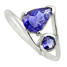 925 sterling silver 2.74cts natural blue iolite ring jewelry size 6 r7500
