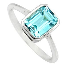 2.28cts natural blue topaz 925 sterling silver solitaire ring size 5.5 r7505