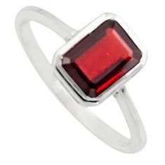 2.31cts natural red garnet 925 sterling silver solitaire ring size 5.5 r7509