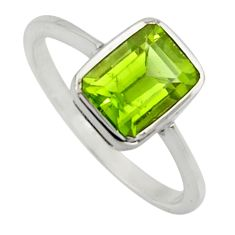 2.28cts natural green peridot 925 silver solitaire ring jewelry size 7.5 r7511