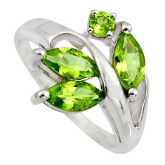 5.96cts natural green peridot 925 sterling silver ring jewelry size 8.5 r7527