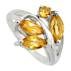 925 sterling silver 5.96cts natural yellow citrine ring jewelry size 6.5 r7531