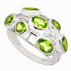 925 sterling silver 6.16cts natural green peridot ring jewelry size 7 r7548