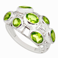 6.18cts natural green peridot 925 sterling silver ring jewelry size 8 r7551