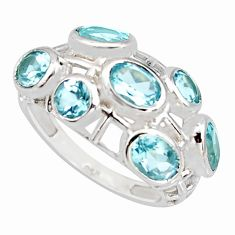 925 sterling silver 5.97cts natural blue topaz ring jewelry size 7 r7552