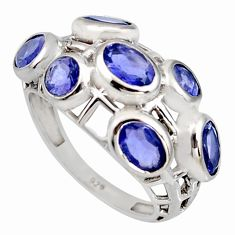 5.96cts natural blue iolite 925 sterling silver ring jewelry size 7 r7557