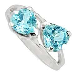925 sterling silver 2.02cts natural blue topaz ring jewelry size 6.5 r7568