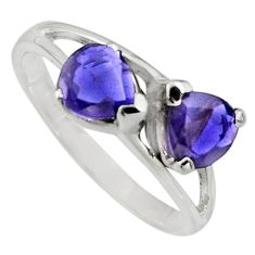 2.02cts natural blue iolite 925 sterling silver ring jewelry size 7.5 r7578