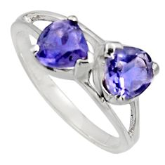 1.85cts natural blue iolite 925 sterling silver ring jewelry size 6.5 r7579
