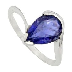 2.51cts natural blue iolite 925 sterling silver solitaire ring size 6.5 r7599