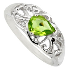 1.49cts natural green peridot 925 silver solitaire ring jewelry size 6.5 r7603