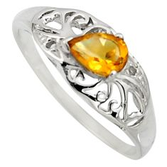 1.48cts natural yellow citrine 925 sterling silver solitaire ring size 5.5 r7607