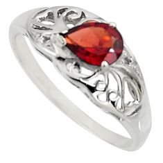 925 sterling silver 1.49cts natural red garnet pear solitaire ring size 7 r7614