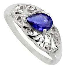 1.46cts natural blue iolite 925 sterling silver solitaire ring size 6 r7620