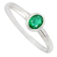 0.89cts natural green emerald 925 silver solitaire ring jewelry size 6.5 r7625