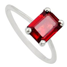 1.96cts natural red garnet 925 sterling silver solitaire ring size 5 r7645