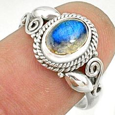 925 silver 1.63cts natural blue labradorite oval solitaire ring size 7.5 r76737