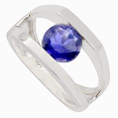 2.51cts natural blue iolite 925 sterling silver solitaire ring size 5.5 r7677