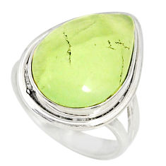 13.77cts natural green prehnite pear 925 silver solitaire ring size 7.5 r76785