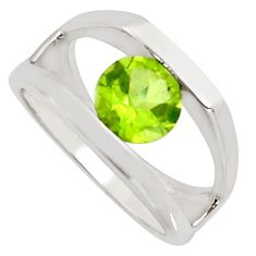 925 sterling silver 2.50cts natural green peridot solitaire ring size 5.5 r7679