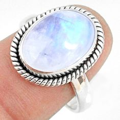 6.33cts natural rainbow moonstone 925 silver solitaire ring size 8 r76985