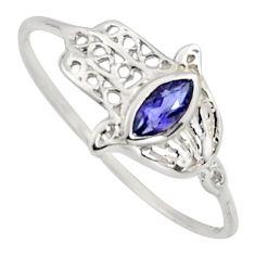 0.50cts natural blue iolite 925 silver hand of god hamsa ring size 8.5 r7702