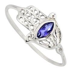 0.42cts natural blue iolite 925 silver hand of god hamsa ring size 7.5 r7705